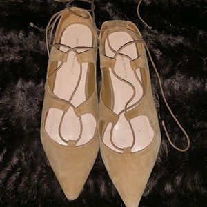 Loeffler Randall Lace Up Point Tor Flats, Size 11B
